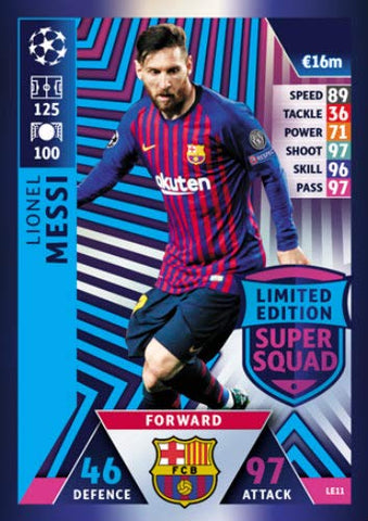 MATCH ATTAX CHAMPIONS LEAGUE 18/19 LIONEL MESSI LIMITED EDITION TRADING CARD - FC BARCELONA 18/19