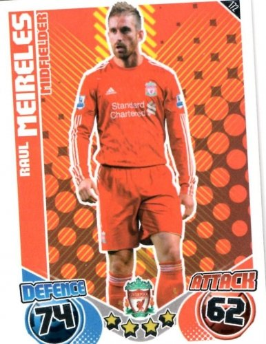 Raul MEIRELES Liverpool Individual Match Attax 2010/11 Trading Card