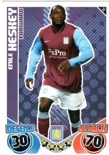 Emile HESKEY Aston Villa Individual Match Attax 2010/11 Trading Card
