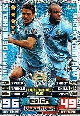 Match Attax Extra 2014/2015 Martin Demichelis/ Vincent Kompany (Manchester City) Duo Card 14/15