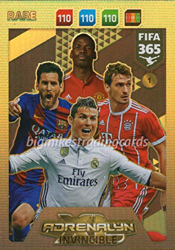 FIFA 365 2018 - INVINCIBLE CARD #1 *RARE, MESSI, RONALDO etc PANINI ADRENAYLN XL