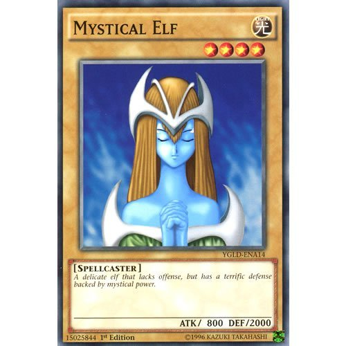 YuGiOh : YGLD-ENA14 1st Ed Mystical Elf Common Card - ( Yu-Gi-Oh! Single Card )