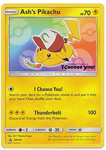 Ashs Pikachu Card Ash's Pikachu Pokemon Card Movie Promo SM108 I Choose You