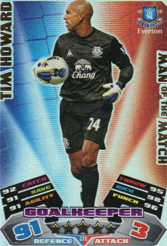 Match Attax 2011/12 Man of the Man EVERTON 376 Tim Howard