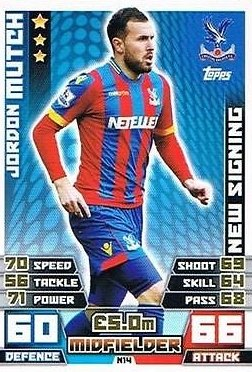 Match Attax Extra 2014/2015 Jordan Mutch (Crystal Palace) New Signing 14/15