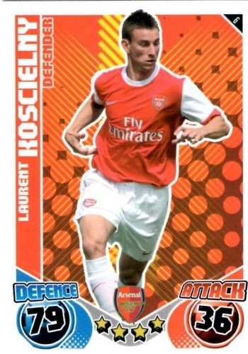Laurent KOSCIELNY Arsenal Individual Match Attax 2010/11 Trading Card