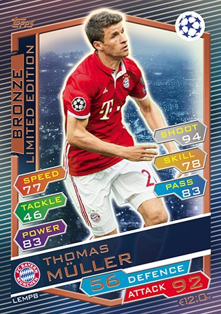 Match Attax Champions League 2016/2017 - Thomas Muller Bronze Limited Edition Card (LEMPB)
