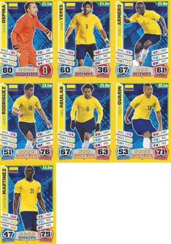 Match Attax England World Cup 2014 Colombia Base Card Team Set (7 Cards)