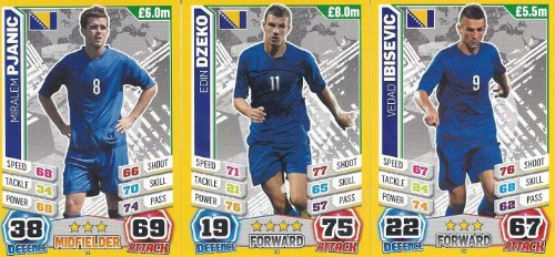 Match Attax England World Cup 2014 Bosnia Base Card Team Set (3 Cards)
