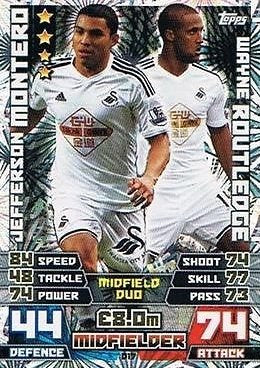 Match Attax Extra 2014/2015 Jefferson Montero/ Wayne Routledge (Swansea City) Duo Card 14/15