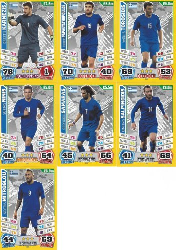Match Attax England World Cup 2014 Greece Base Card Team Set (7 Cards)