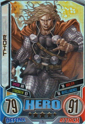 Marvel Hero Attax Series 2 The Avengers Rainbow Foil Card 7 Thor