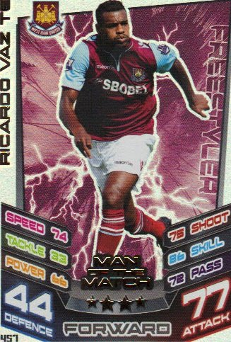 Match Attax 2012/2013 Man of the Match - 457 West Ham United RICARDO VAZ TE