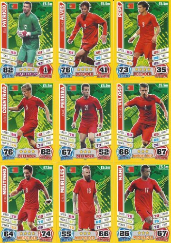 Match Attax England World Cup 2014 Portugal Base Card Team Set (11 Cards)