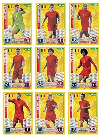 Match Attax England World Cup 2014 Belgium Base Card Team Set (11 Cards)