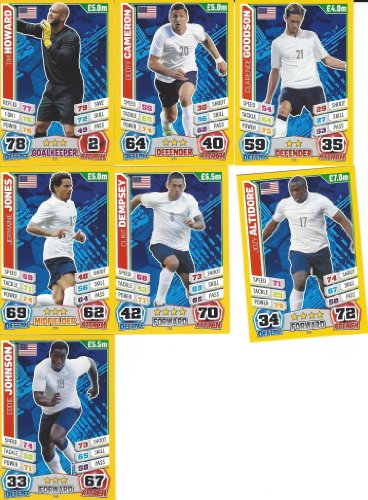 Match Attax England World Cup 2014 USA Base Card Team Set ( 7 Cards)