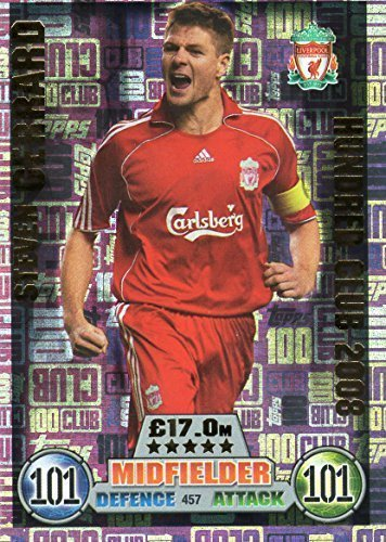 MATCH ATTAX 100 CLUB STEVEN GERRARD HUNDRED CLUB LEGEND CARD