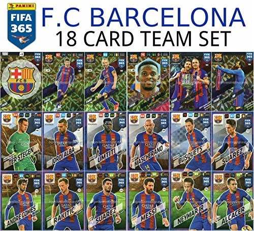 FIFA 365 2018 F.C BARCELONA FULL 18 CARD TEAMMATE SET, PANINI ADRENAYLN XL