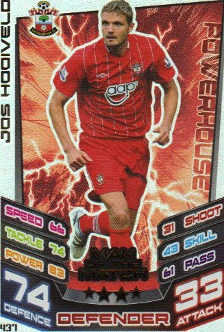 Match Attax 2012/2013 Man of the Match - 437 Southampton JOS HOOIVELD