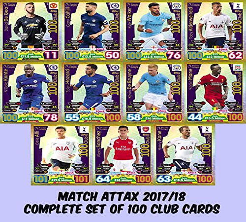 MATCH ATTAX 2017/18 - COMPLETE SET OF 100 CLUB CARDS