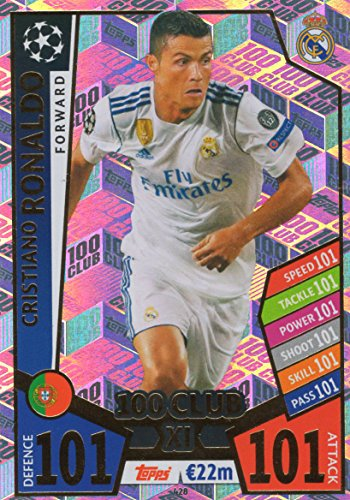 MATCH ATTAX CHAMPIONS LEAGUE 17/18 CRISTIANO RONALDO 100 CLUB TRADING CARD - REAL MADRID 17/18