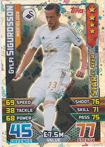 Match Attax 2015/2016 Gylfi Sigurdsson Star Player Trading Card 15/16 by Match Attax