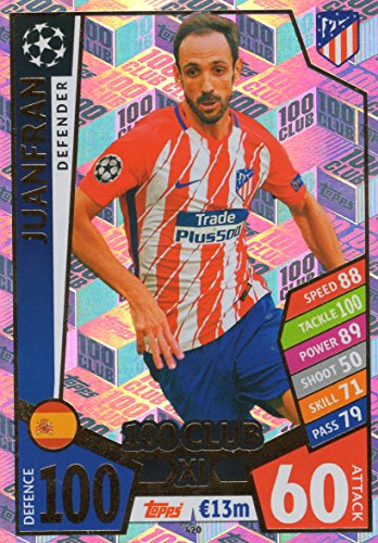 MATCH ATTAX CHAMPIONS LEAGUE 17/18 JUANFRAN 100 CLUB TRADING CARD - ATLETICO MADRID 17/18