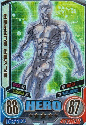 Marvel Hero Attax Series 2 The Avengers Rainbow Foil Card 6 Silver Surfer