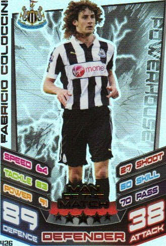 Match Attax 2012/2013 Man of the Match - 426 Newcastle United FABRICIO COLOCCINI