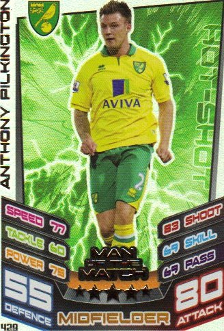 Match Attax 2012/2013 Man of the Match - 429 Norwich City ANTHONY PILKINGTON