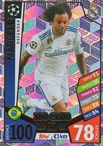 MATCH ATTAX CHAMPIONS LEAGUE 17/18 MARCELO 100 CLUB TRADING CARD - REAL MADRID 17/18