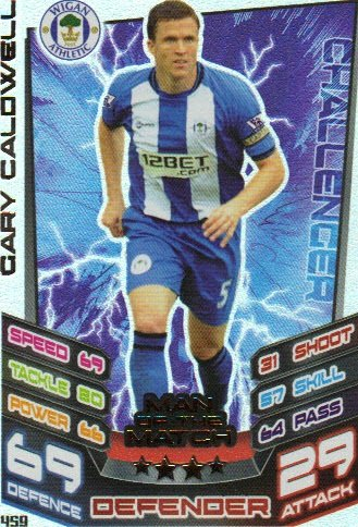 Match Attax 2012/2013 Man of the Match - 459 Wigan Athletic GARY CALDWELL
