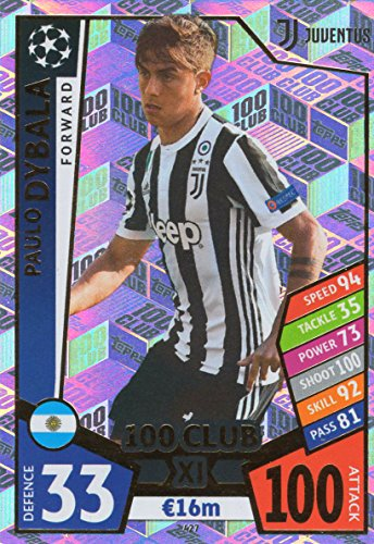 MATCH ATTAX CHAMPIONS LEAGUE 17/18 PAULO DYBALA 100 CLUB TRADING CARD - JUVENTUS 17/18