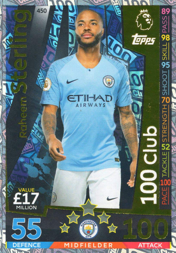 MATCH ATTAX 2018/19 RAHEEM STERLING 100 CLUB CARD - MAN CITY #450
