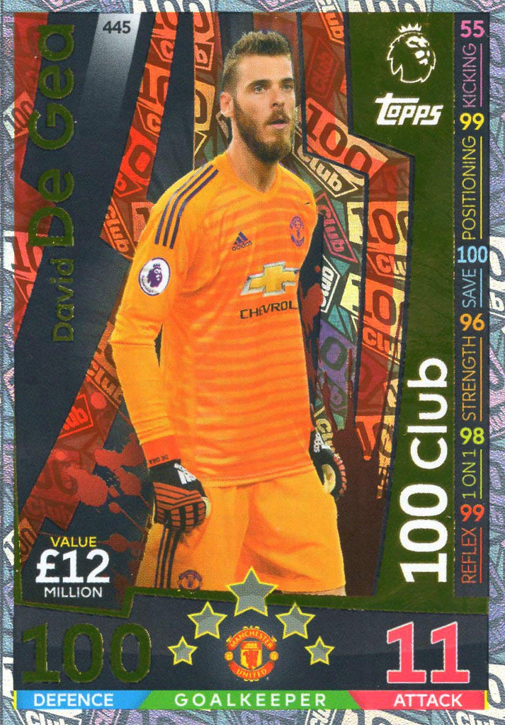 MATCH ATTAX 2018/19 DAVID DE GEA 100 CLUB CARD - MAN UTD