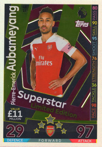 MATCH ATTAX 2018/19 PIERRE-EMERICK AUBAMEYANG SUPERSTAR LIMITED EDITION CARD LE11