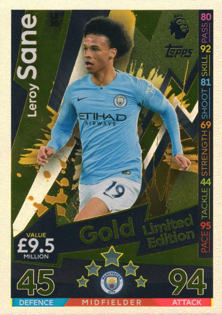MATCH ATTAX 2018/19 LEROY SANE GOLD LIMITED EDITION CARD LE3G