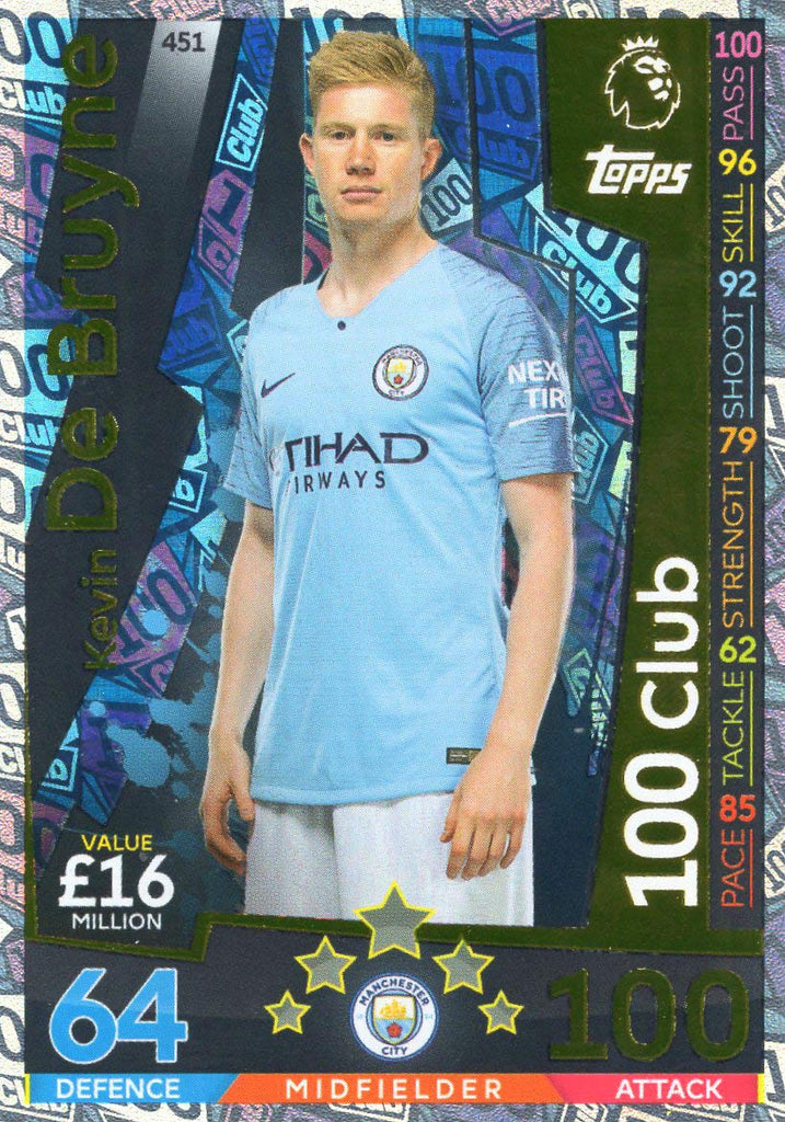 MATCH ATTAX 2018/19 KEVIN DE BRUYNE 100 CLUB CARD - MAN CITY #451