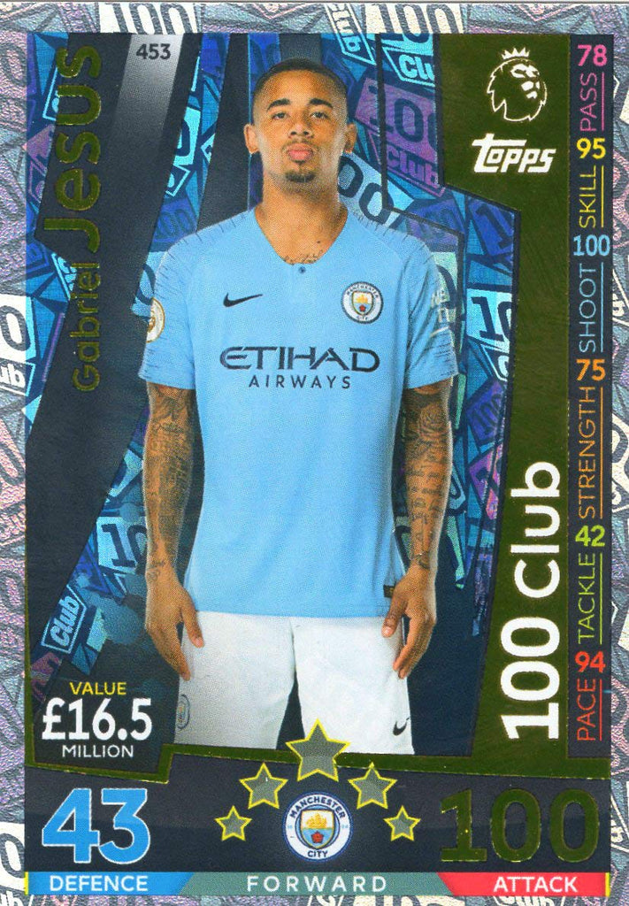 MATCH ATTAX 2018/19 GABRIEL JESUS 100 CLUB CARD - MAN CITY #453