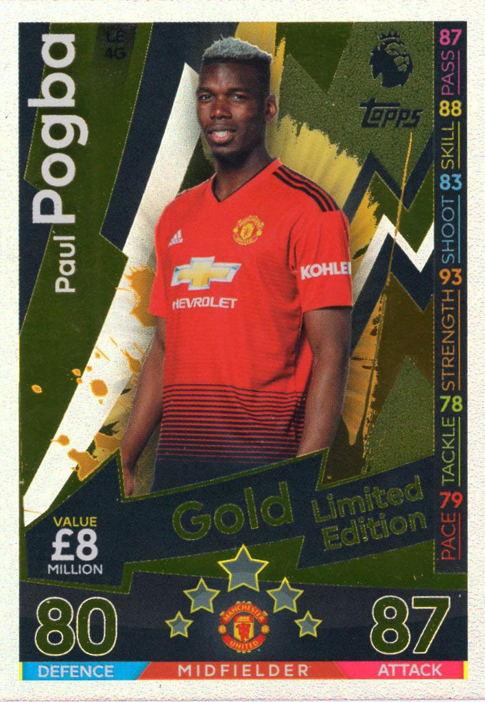MATCH ATTAX 2018/19 PAUL POGBA GOLD LIMITED EDITION CARD LE4G