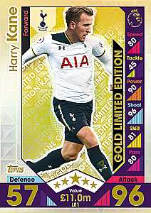 Topps Match Attax 2016/2017 Harry Kane Gold Limited Edition 16/17 Plus 5 Trading Cards