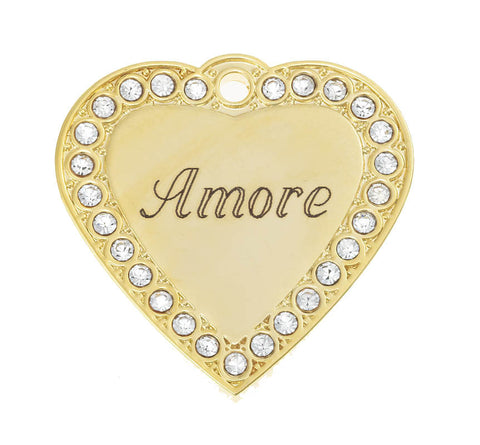 Amore Crystal Heart Pet ID Tag