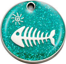 Aqua Fish Glitter Cat ID Tag - Bow Wow