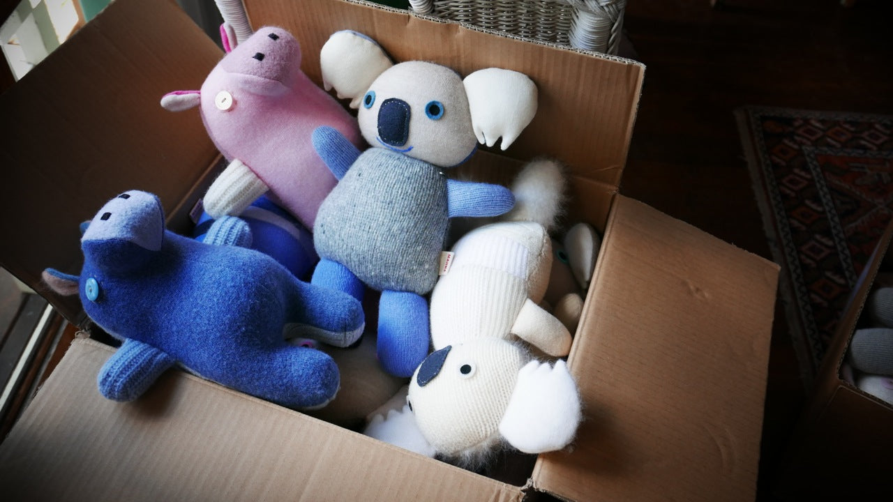 Aly Peel from Maiike, making handmade soft toys.