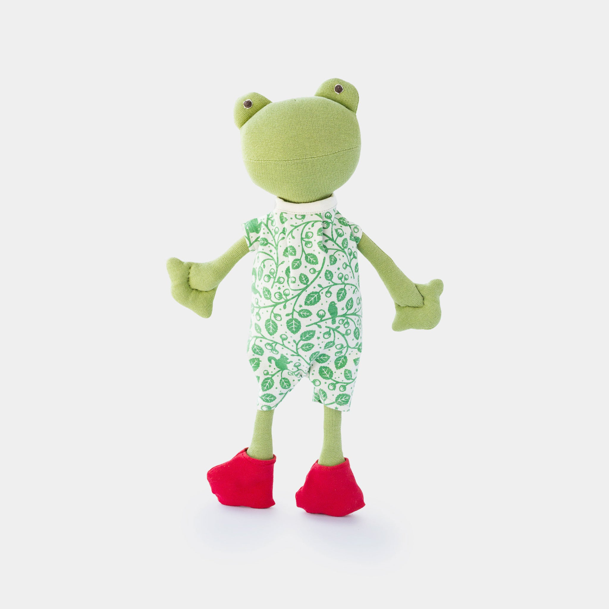 The green soft toy, Ella Toad - a sustainable organic cotton cuddly toy toad by Hazel Village