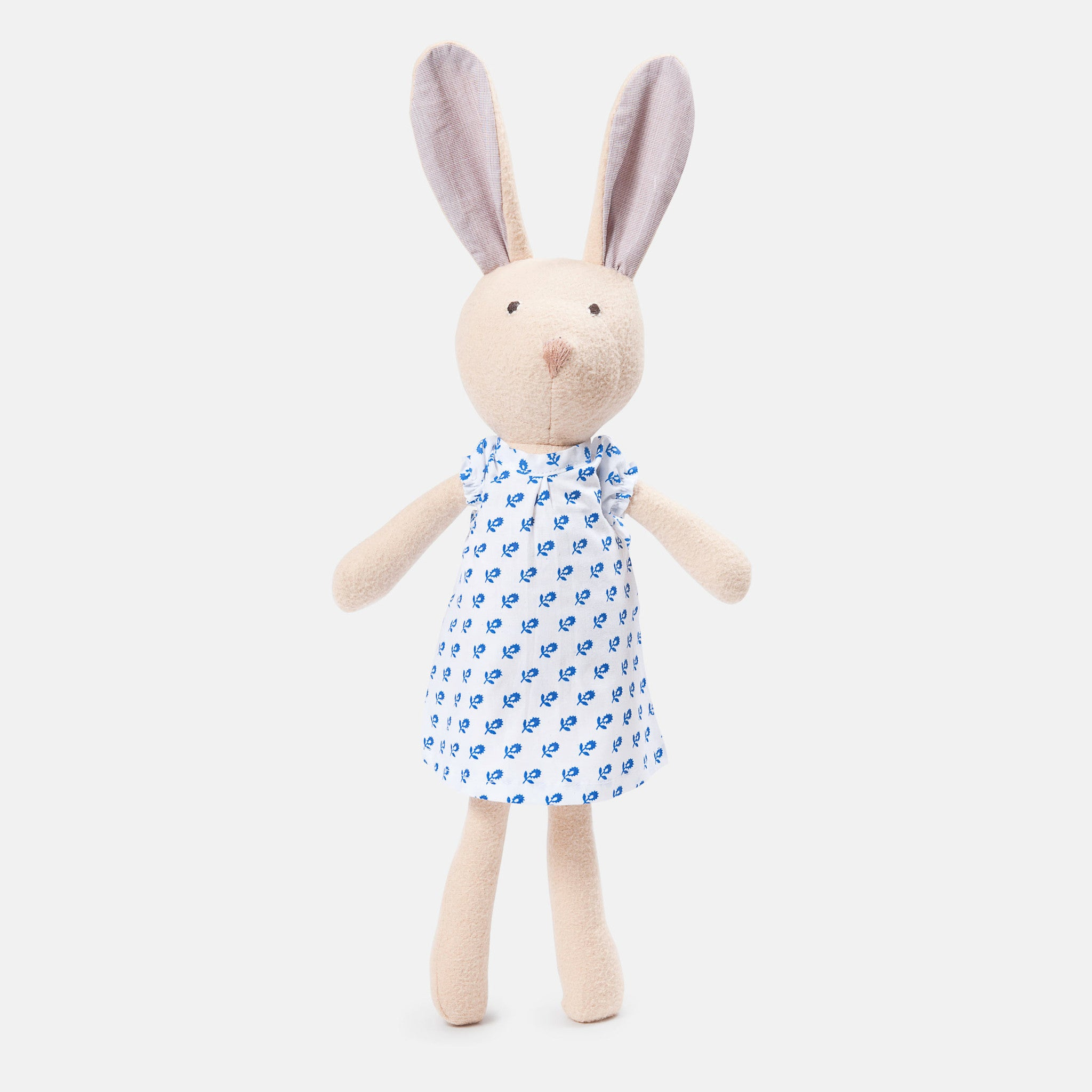 The beige soft toy, Juliette Rabbit - a sustainable organic cotton cuddly toy rabbit by Hazel Village