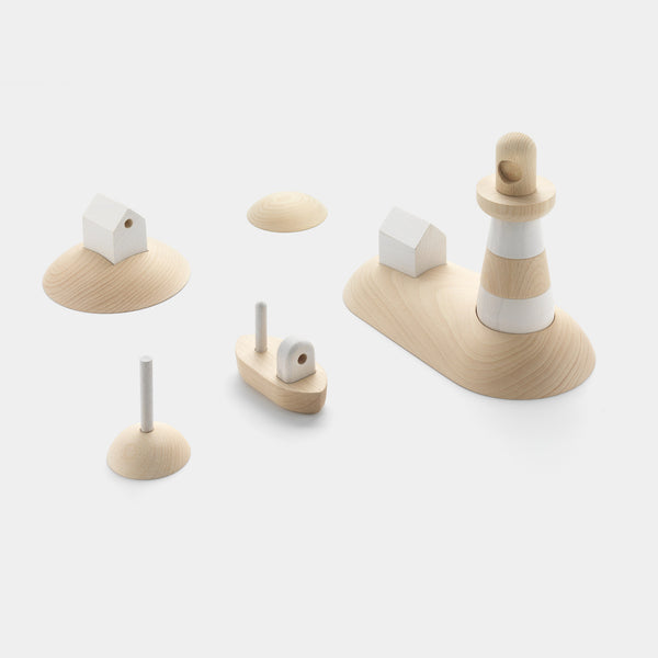 Permafrost's Archipelago wooden toy set with the fishing boat, lighthouse, beacon, island house & skerry