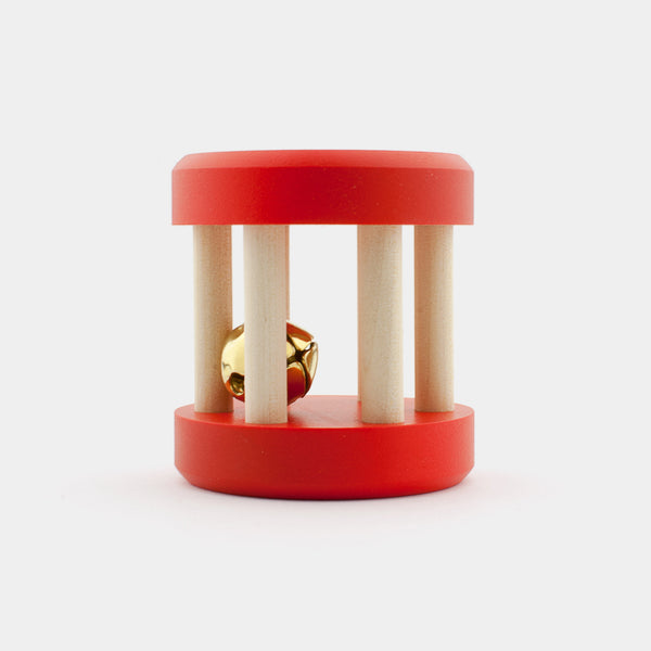 Made in Finland by Jukka Toys, this birch wood baby rattle is a classic from the 1980s.