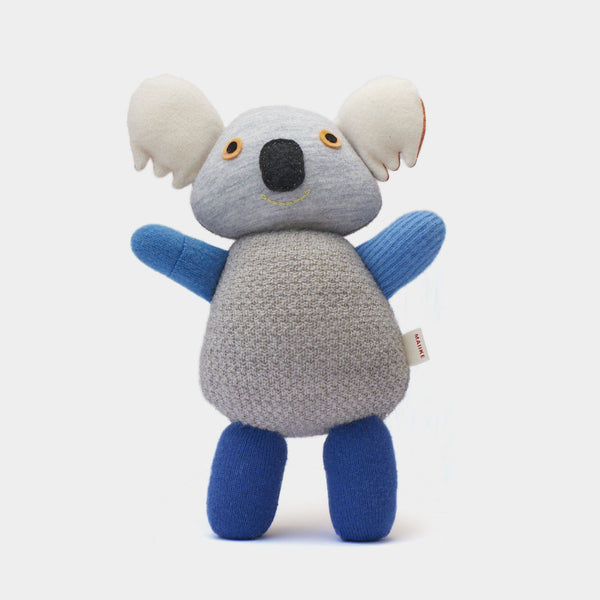 Koala from Melbourne, Australia. Handmade in the finest recycled wool. It comes in the finest blue, grey and orange shades, and each little koala is unique.
