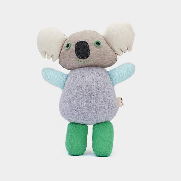 Koala from Melbourne, Australia. Handmade in the finest recycled wool. It comes in the finest green, blue and grey shades, and each little koala is unique.